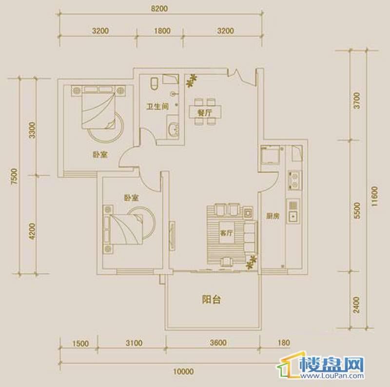 金宇紫林广场N户型2室2厅1卫1厨
