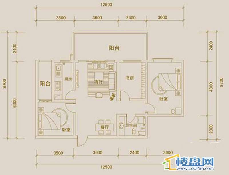 金宇紫林广场H户型3室2厅1卫1厨