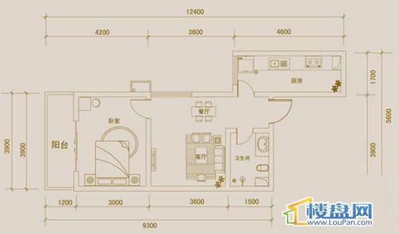 金宇紫林广场A户型1室1厅1卫1厨