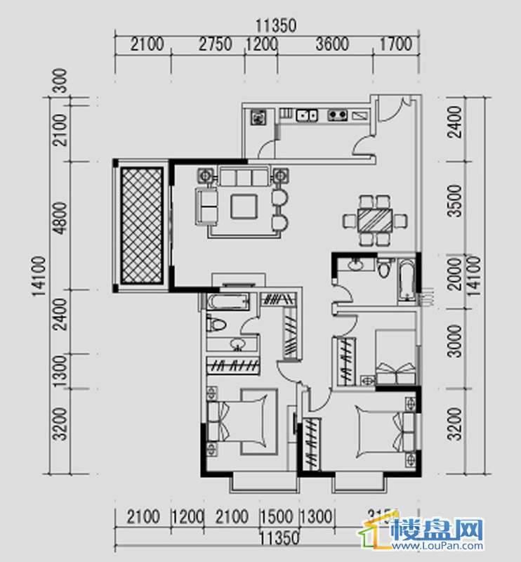 都市道1号B户型3室2厅2卫1厨