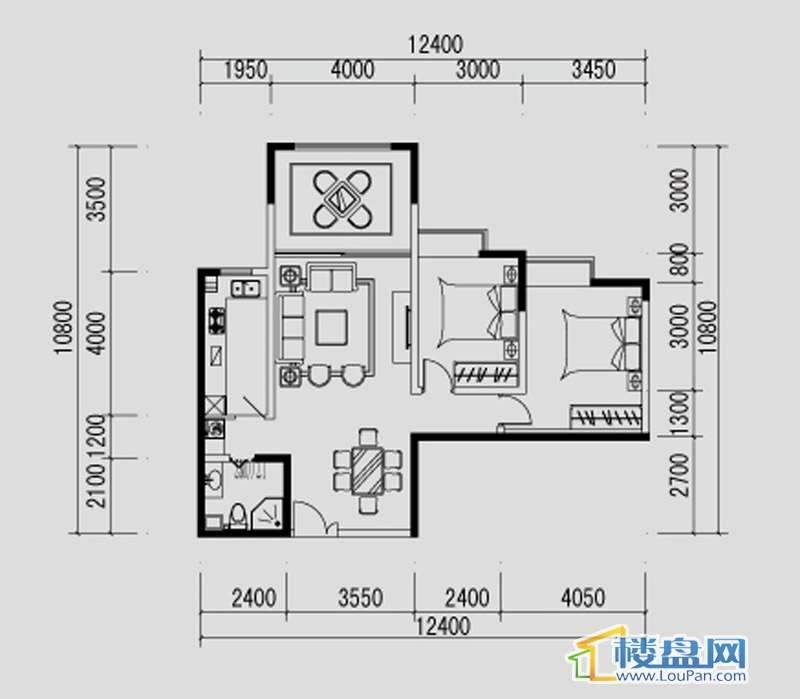 都市道1号C户型2室2厅1卫1厨
