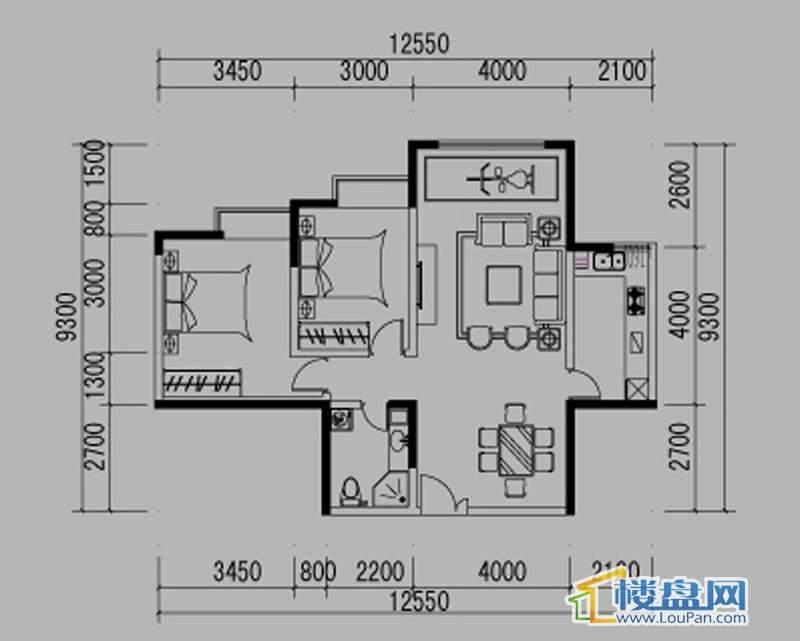 都市道1号E户型2室2厅1卫1厨