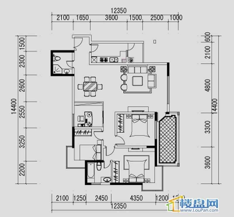 都市道1号H户型3室2厅2卫1厨