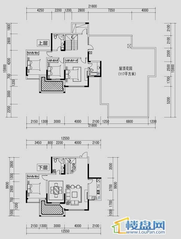 都市道1号L户型4室2厅3卫1厨
