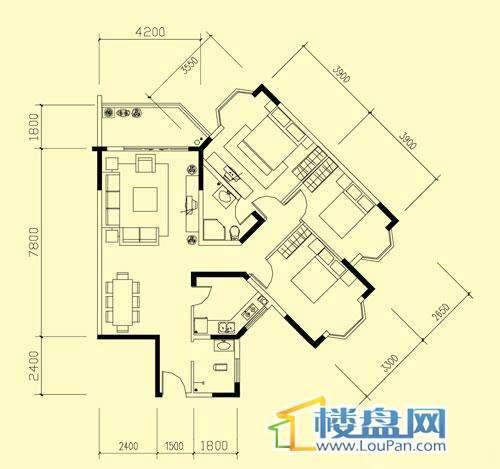 广信四季家园二期标准层D户型2室2厅1卫1厨