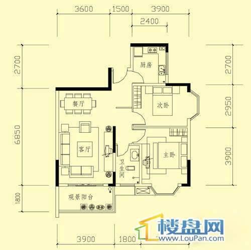 广信四季家园二期标准层C户型2室2厅1卫1厨