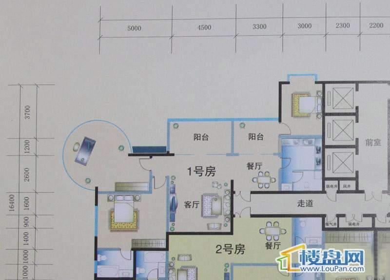 花样年华1号房户型2室2厅2卫1厨