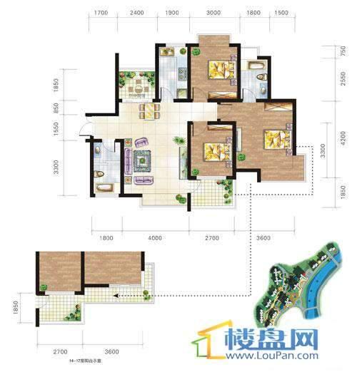 兴隆城市花园沐风园3-5-6栋1号户型3室2厅2卫1厨