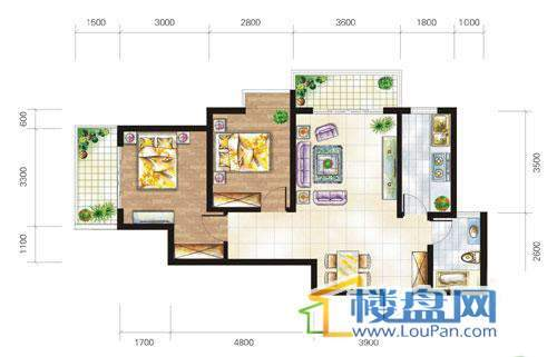兴隆城市花园沐风园1-2栋4号、17栋5号户型2室1厅1卫1厨