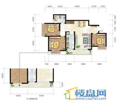 兴隆城市花园沐风园1-2栋3号户型3室2厅1卫1厨