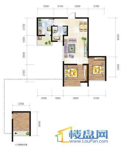 兴隆城市花园沐风园1-2栋2号户型2室1厅1卫1厨