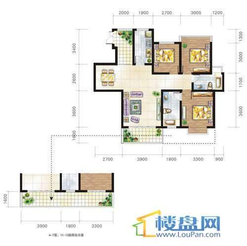 兴隆城市花园沐风园1-2栋1号户型3室2厅2卫1厨