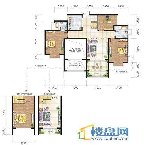 兴隆城市花园沐风园3-5-6栋2号户型(偶数层)3室2厅2卫1厨