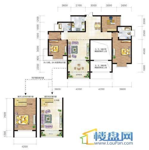 兴隆城市花园沐风园3-5-6栋2号户型(奇数层)3室2厅2卫1厨