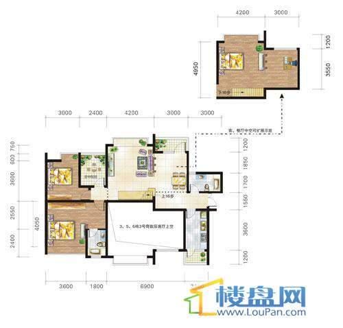 兴隆城市花园沐风园3-5-6栋3号户型(偶数层)2室2厅2卫1厨