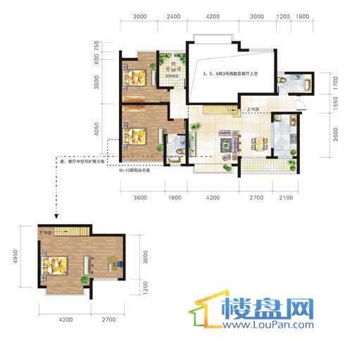 兴隆城市花园沐风园3-5-6栋3号户型(奇数层)2室2厅2卫1厨