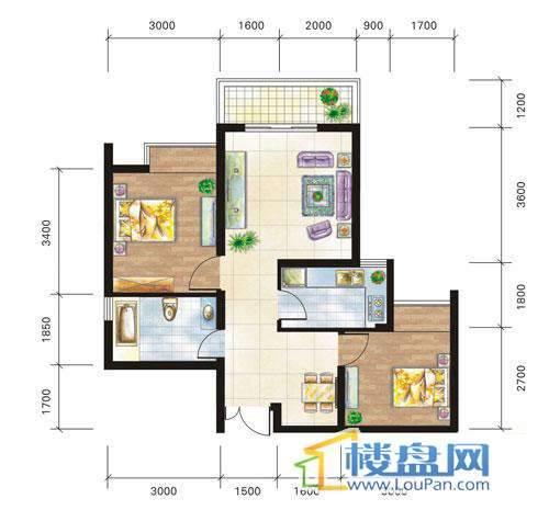兴隆城市花园沐风园3-5-6栋4号户型2室2厅1卫1厨
