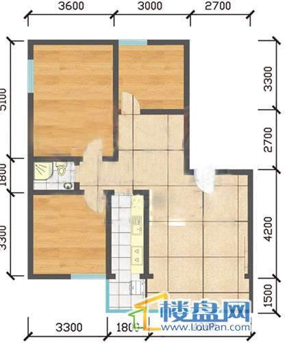登高小区 户型图3室1厅1卫1厨