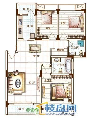 宏业康馨园户型图3室2厅2卫1厨