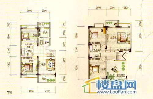 宏业康馨园1-7栋顶层跃层5室2厅2卫1厨