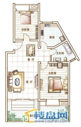 宏业康馨园户型图2室2厅1卫1厨