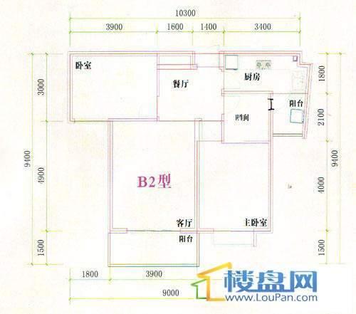 光明桂花园2号楼B2型户型2室2厅1卫1厨