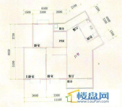 光明桂花园8号J1型楼户型3室2厅1卫1厨