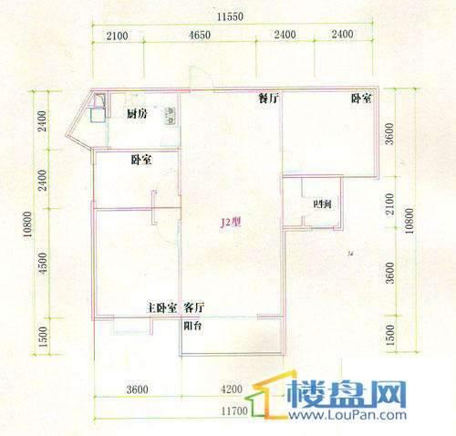 光明桂花园8号J2型楼户型3室2厅1卫1厨