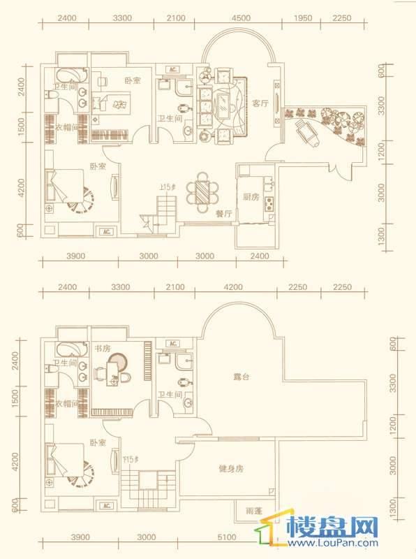 紫金庄园5栋2单元1号户型18层4室2厅4卫1厨