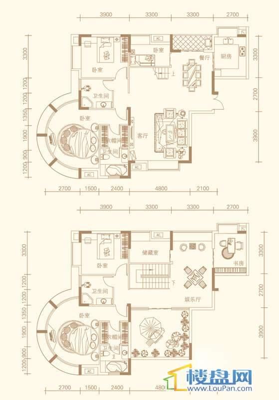 紫金庄园3栋3单元3号户型18层5室3厅5卫1厨