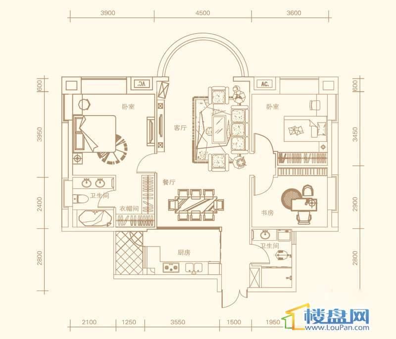 紫金庄园4栋1单元1号户型3室2厅2卫1厨