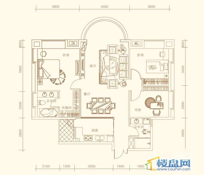 紫金庄园4栋一单元1号户型3室2厅2卫1厨