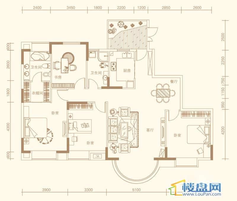 紫金庄园3栋一、二单元1、2号户型4室2厅2卫1厨