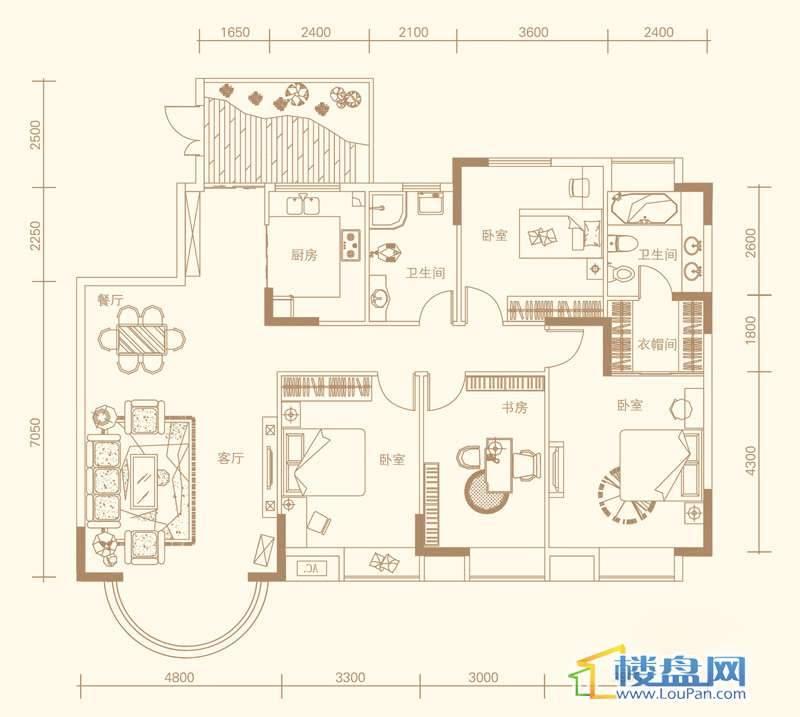 紫金庄园3栋一、二单元1、2号a户型4室2厅2卫1厨