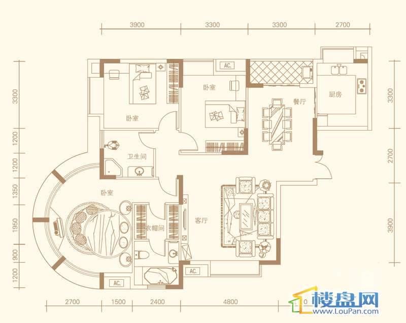紫金庄园3栋三单元3号户型3室2厅2卫1厨