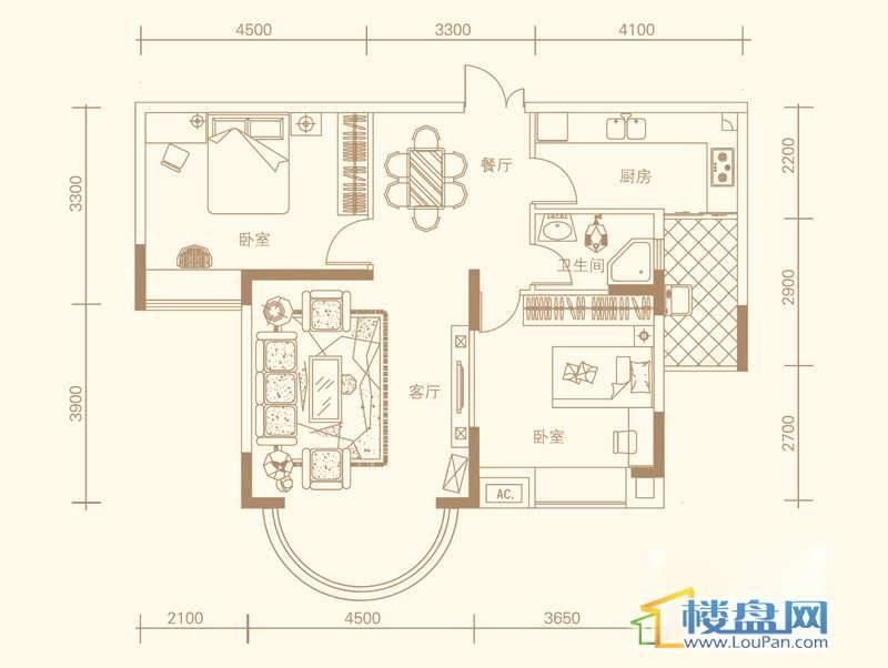 紫金庄园3栋三单元2号户型2室2厅1卫1厨