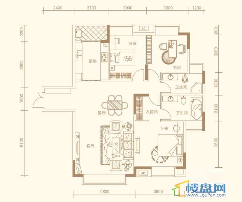 紫金庄园3栋三单元1号户型3室2厅2卫1厨