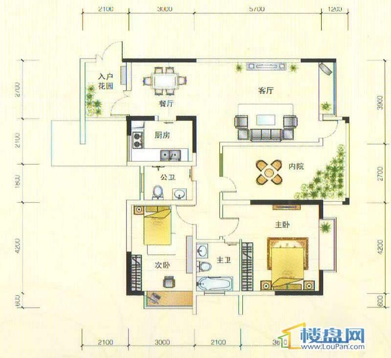 世纪南山C栋B户型2室2厅2卫1厨