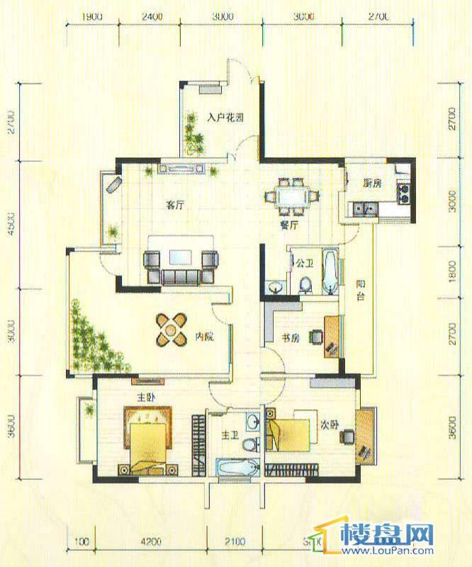 世纪南山C栋C户型3室2厅2卫1厨