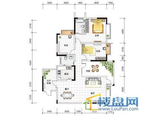世纪南山C栋A户型3室1厅2卫1厨