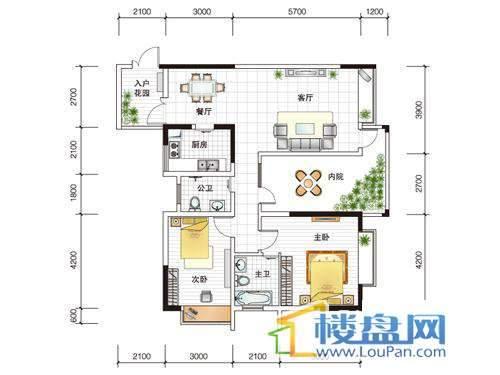 世纪南山C栋B户型2室1厅2卫1厨