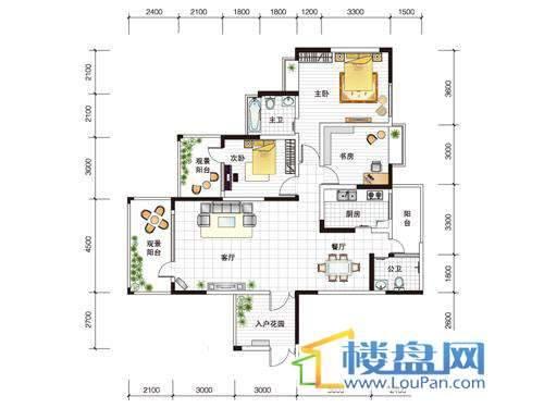 世纪南山C栋C户型3室1厅2卫1厨