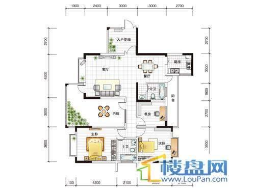 世纪南山C栋D户型3室1厅2卫1厨
