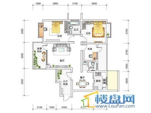 世纪南山D栋A户型3室2厅2卫1厨