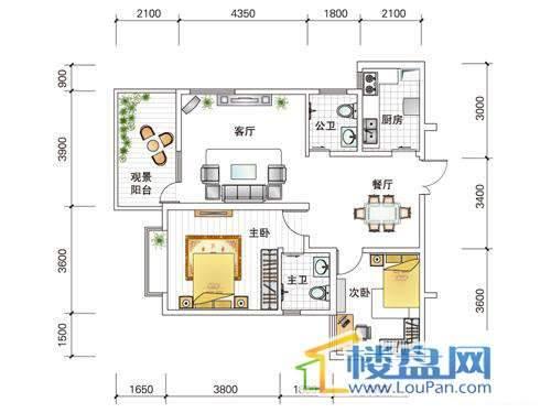 世纪南山D栋B户型2室2厅2卫1厨
