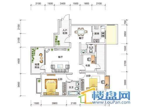 世纪南山D栋C户型2室2厅2卫1厨