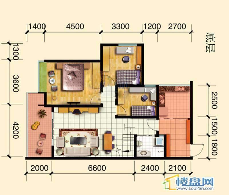 碧玉居跃层户型(底)4室2厅2卫1厨