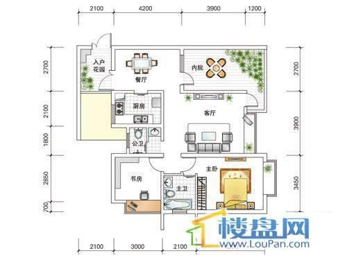 世纪南山D栋D户型2室1厅2卫1厨