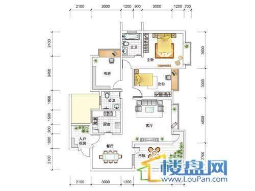 世纪南山D栋E户型3室2厅2卫1厨