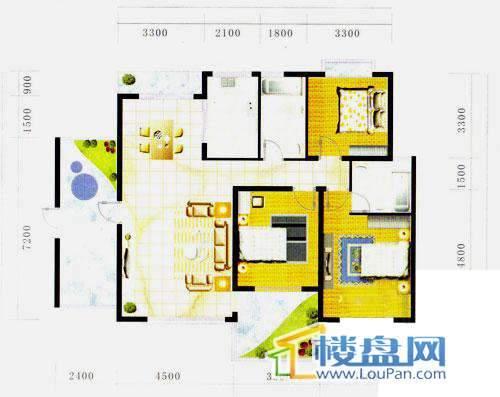 阳光金地户型图3室2厅2卫1厨